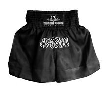 "New Handmade Premium Black Muay Thai Shorts XXLarge (35"" - 36"" Waist) FREE BADGE"