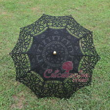 Handmade Battenburg Black Lace Cotton Embroidery Wedding Umbrella Sun Parasol