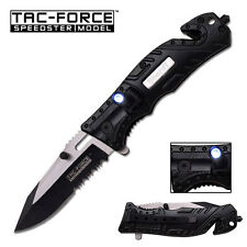 """TAC-FORCE Spring Assisted Pocket Knife Sheriff LED Light 4.5"""" Tactical Stainless"""
