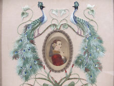 Antique Victorian Silkwork Peafowl Embroidery w/ Central Portrait Vignette  yqz