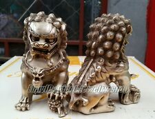 Old Tibet Silver Lion Foo Fu Dog Door guard Copper Statue A Pair H:14cm
