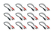 12X Reverse 1 RCA Female to 2-RCA Male Audio Adapter Y Splitter 6-Inch 12pcs