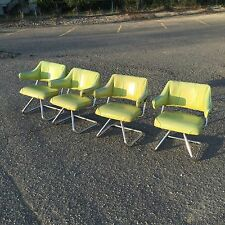 (4) Unique Vintage Mid Century Contemporary Chrome ARM CHAIRS by HOWELL || Green