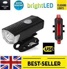front USB led + rear 5 led rechargeable light set - bright lights flash bike UK