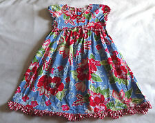 Hanna Andersson Girls 130 8 9 10 Blue Red Floral Gingham Trim Ruffle Hem Dress