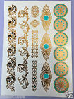 1pc Temporary Metallic Tattoo Gold Silver Black Flash Tattoos Inspired necklace
