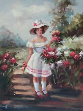 """Spring Collector Original Hand Painted 12""""x16"""" Oil Painting Figures Canvas Art"""