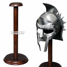 "17"" Solid Wooden Display Stand for Medieval Helmet Roman Viking Armor Round Base"