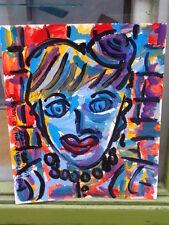 """Royston du maurier-lebek original """"jane eyre"""" signé acrylique peinture sur carte"""