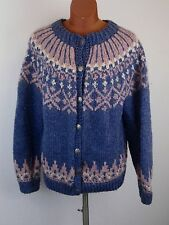 Canadian Womens Vintage Fair Isle Handknit Nordic Cardigan Sweater