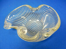 Rare Fratelli Toso Murano Filigran Netz  glass bowl ashtray Aschen Glas Schale