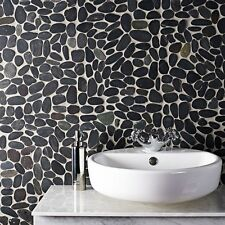 Black Flat Riverstone Pebble Mosaic Tiles