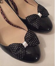 Polkadot Shoe Clips 4 Shoes Black White Bows 1950s Vintage Pinup Retro