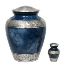 Large Elite Cloud Blue and Silver Cremation Urn, Funeral Urn, New ~ Great Deal