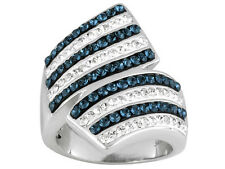 BLUE AND WHITE SWAROVSKI BYPASS RING ~ PLATINUM PLATED BRONZE ~ SIZE 7