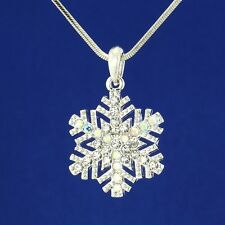 W Swarovski Crystal AB Color Snowflake Holiday Charm Pendant Necklace Jewelry