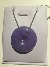 Chinese Style Gift Vintage Purple Burma Jade Necklace Sterling Silver (JP42)