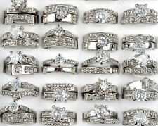 Wholesale 10PCS Lots Clear Cubic Zircon CZ Platinum P Women Wedding Bridal Rings