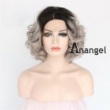 Gray Bob Lace Front Wig Heat Synthetic Chic Curly Hair Black Roots Full Wigs