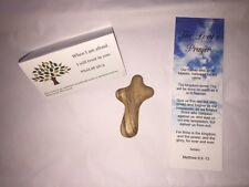 HANDMADE Christian cross -- new Olive Wood Small Pocket Holding caring palm gift