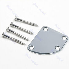 New Guitar Deluxe Style Rounded Neck Plate With Screws Chrome