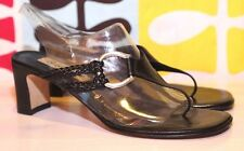 BRIGHTON TAWNY THONG 8M HEELS BLK SANDALS SlLVER  HARDWARE Made In Italy EUC