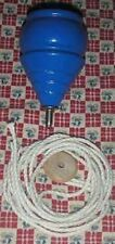 1 BLUE WOODEN TOY SPINNING TOP with String **NEW* Wood Spin Tops Metal Tip