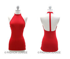 RED T BACK TANK Top Open Back Backless Choker Shirt Sexy Jersey Clubwear NEW L