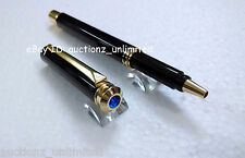 Pierre Cardin Cristal Black Chrome Finish Roller Ball Point Pen Blue Crystal Top