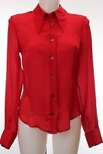 D&G 100% Silk Long Sleeve Red Button Down Size 40/6