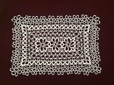 "Gorgeous Hand Tatted White 15""x11"" table placemat Cotton Tatting Lace Doily"
