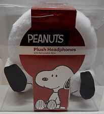 PEANUTS Kids Plush Headphones with Retractable Wire Snoopy Dog White New