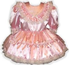 """Darla"" Custom Fit PINK SATIN Adult Baby LG Sissy Dress LEANNE"