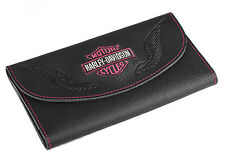 Harley-Davidson® Women's Embroidered Bar & Shield Leather Wallet ZWL5879-PNKBLK