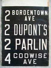 1940s Public Service New Jersey Bus Vellum Side Sign DUPONT CHEMICAL Old Bridge