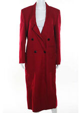 LOUIS FERAUD Red Long Sleeve Collared 2 Pocket Knit Trench Coat Sz 4