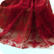 "Lace Fabric Red Mesh Butterfly Floral Embroidery Wedding Bridal 51"" wide 1 yard"