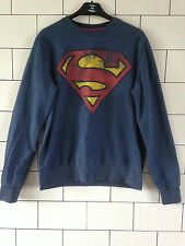 UNISEX URBAN VINTAGE BLUE SUPERMAN FESTIVAL SWEATSHIRT SWEATER JUMPER UK XS