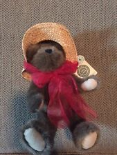 "NWT BOYDS BEARS 6"" BEAR W/ STRAW HAT"