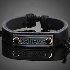 Motivation Metal Plate Girl Boy Braid Bracelet String Band Bangle Black