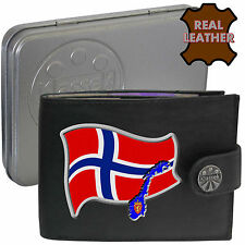 NORWAY Mens Leather Wallet NORWAY Flag map and Emblem Mans gift Norge Noreg Tin
