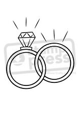 A7 'Wedding Rings' Unmounted Rubber Stamp (SP003269)