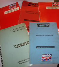 METRIX ENGINEERING CENTRIFUGAL PUMPS +iv SERVICE +SPARE PARTS MANUALS for resale