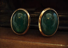 Vintage Large Green Quartz Cabouchon Gold Plated Clip-On Earrings