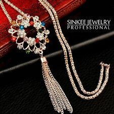 2016 Charm Women Rhinestone Flower Tassel Pendant Long Necklace Chain MY288