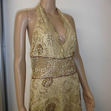 GOLD BEADED OCCASION HALTER NECK DRESS WITH SHEER PANEL, SIZE 10/12, APR-11/L