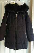 GORGEOUS ZARA BELT BUCKLE DOWN COAT JACKET IN NAVY BLUE FUR HOODED SIZE XS 8 10