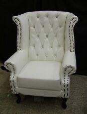 Brand New Chesterfield High Armchair White with Crystal Diamanté Bycast Leather.