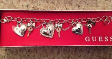 Guess signature gold And Silver Tones bracelet with heart Love charms New NWT