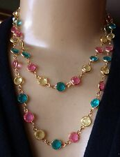 "Vintage Necklace Swarovski Swan Bezel Set Pastel Rhinestone Chain 37"" Long"